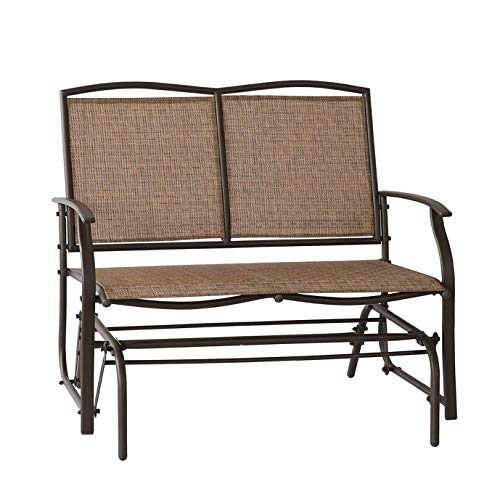 Leissu TRC-201 Patio Glider Swing Bench 2 Persons Outdoor Loveseat, Rocking Chair, Brown