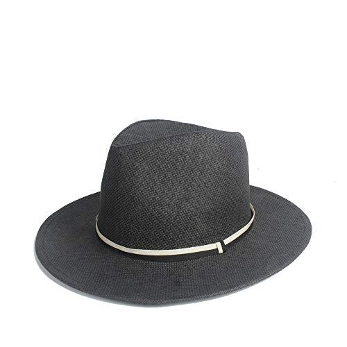 - QINMEI 2019 Beach Hat Sun Hat Chaff Summer Solid Color Hat Pinstripe Strip Decoration Unisex Daily Beach Hat Big Wings Jazz Sun Hat Panama (Color : Black, Size : 56-58CM)