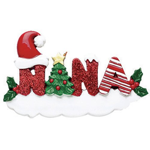 (Personalized Nana Christmas Tree Ornament 2019 - Snowy Glitter Red Word Holly Santa Hat Garnish Best World's Greatest Gran Love Member Tradition Special Forever Memory - Free Customization)