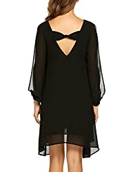 Se Miu Women Loose Dress Beach Casual Dress Cut Off Long Sleeve V Neck Asymmetric Hem Chiffon Black