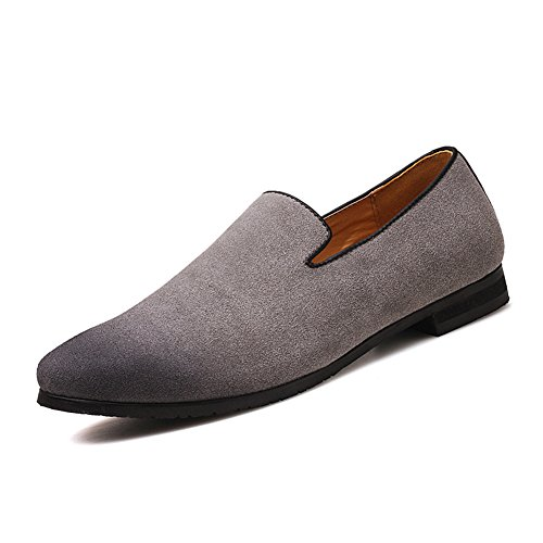 Men's Slip-on Loafers Dress Shoes PU Leather Noble Comfortable Pure Color Fashion Driving Boat Moccasins Grey - Gray Shoes Dress
