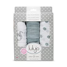 Lulujo Mini Muslin Cotton Receiving Cloths Afrique, Grey/White