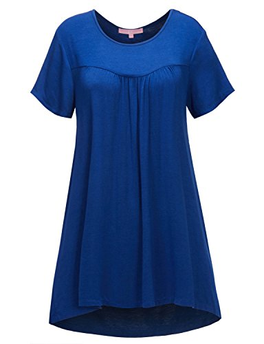 Regna X Women's Short Sleeve Round Neck Plus Size Flowy Tunic Top Blue 3XL by Regna X