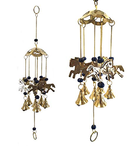 Chime Horse Wind (StealStreet SS-G-155.22 Wind Chime 5-Ring Polyresin Charm Horse Hanging Garden Decoration)