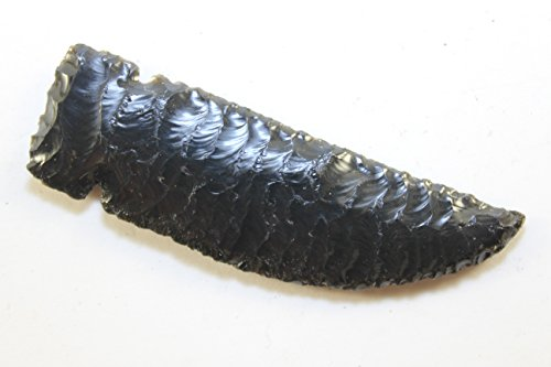 "3-3/4"" Long 1/4"" Thick Domed Knife Blade Flint Knapped From Dark Burns Green Obsidian Flint Knapping Art Pressure Flaked Domed Knife Blade Dagger Side Notched Gem Point Great D.I.Y. Knife Project"