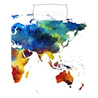 Composition Notebook: Colorful World Map Wide Ruled Paper for Kids, Middle, High School Students, Teachers, Homeschooling