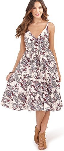 Vestido Baroque con Frontal Cruzado Dama Verano Floral el White Pistachio para de TSSBq6