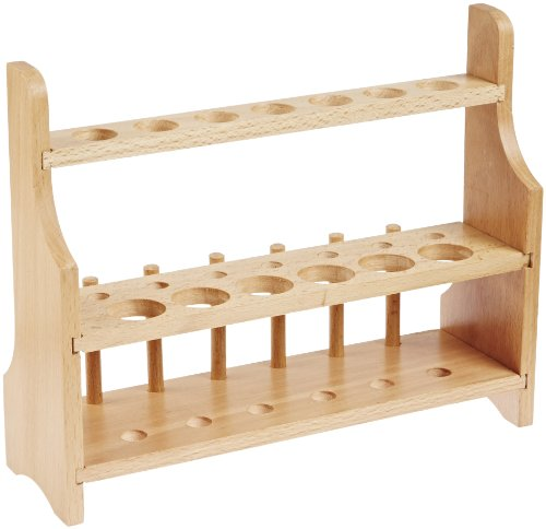 Eisco Labs Wood Test Tube Rack, 13 Hole, 6 Pin – 2 Shelves, 20-25mm