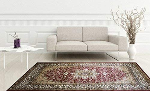 KILIM Boho Bohemian Burgundy Isfahan Vintage Style K603 Area Rug Clearance Soft and Durable Pile. Size Option