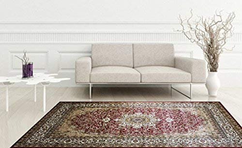 KILIM Boho Bohemian Burgundy Isfahan Vintage Style K603 Area Rug Clearance Soft and Durable Pile. Size Option , 7 .4 X 10 .6