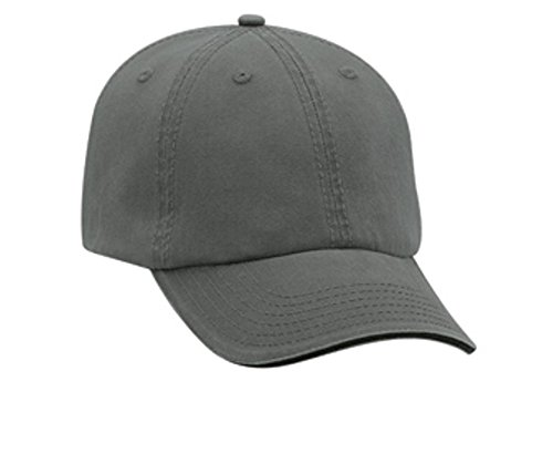 Hats & Caps Shop Superior Garment Washed Cn Twill Sandwich Visor w/ Striped Closure Low Profile Pro Style Caps - Ch.Gry/Ch.Gry/Bl... - By TheTargetBuys