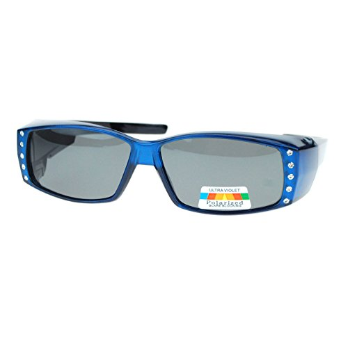Womens Polarized Fit Over Glasses Sunglasses Rhinestones Rectangle Blue