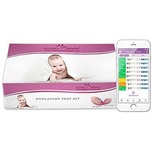 Easy@Home 100 Ovulation Test and 20 Pregnancy Test Strips, Ovulation Test Kit Powered by Premom Ovulation Predictor APP, Simplest Ovulation and Period Tracking with Free iOS&Android APP,100LH +20HcG