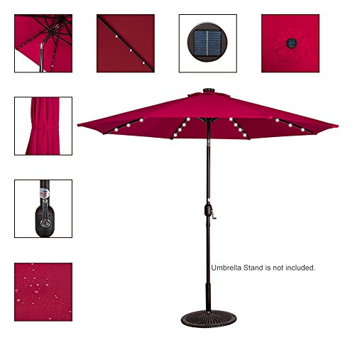 sundale outdoor solar powered 32 led lighted outdoor patio umbrella. Black Bedroom Furniture Sets. Home Design Ideas