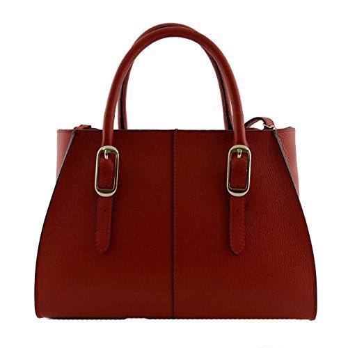 Borsa A Mano In Vera Pelle 2 Scomparti Interni Colore Rosso - Pelletteria Toscana Made In Italy - Borsa Donna