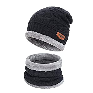 Kids Boys Girls Winter Warm Knit Beanie Hat Cap and Scarf Set with Fleece Lining