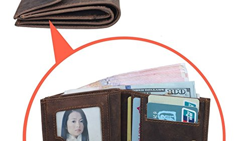 Modelshow Unisex Weinlese echtes Leder Kurz Brieftasche Geldscheinklammer Geldbeutel Tasche Portemonnaie