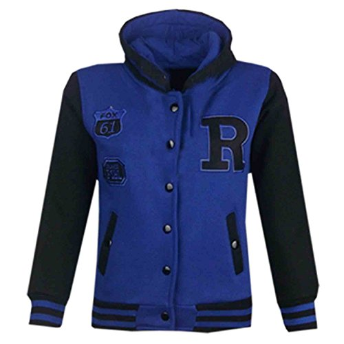 Kids Girls Boys R Fashion NYC Fox Baseball Hooded Jacket Varsity Hoodie 2-13 -