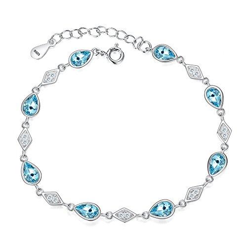FANZE Women's 925 Sterling Silver Cubic Zirconia Diamond Shape Teardrop Link Bracelet Aquamarine Color Made with Swarovski ()