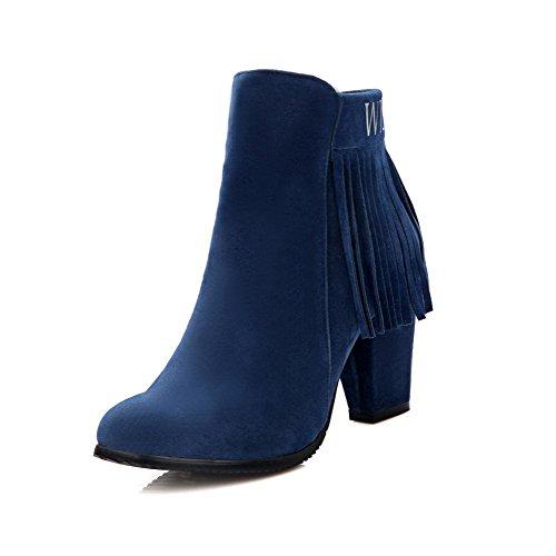 AgooLar Damen Niedrig-Spitze Fransig Reißverschluss Rund Zehe Hoher Absatz Stiefel, Blau, 39