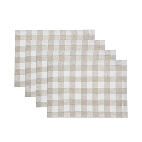 Solino Home 100% Pure Linen Checks Placemat - 14 x 19 Inch Set of 4, Natural & White Check Tablemat - Natural Fabric Handcrafted Machine Washable