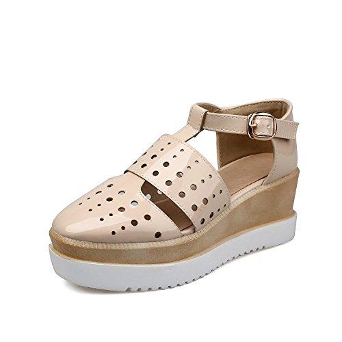 Xing Lin Sandalias De Cuero Galería Tipo T Torta Gruesa Hueco Con Una Cómoda Pendiente Romano Con El Orificio Zapatos Zapatos Sandalias creamy-white