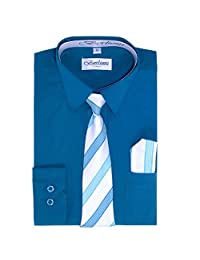 Teal Boys Fashion Solid Dress Shirt Tie and Hanky Set