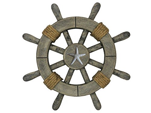 Handcrafted Decor Super-Rustic-White-SW-12-Starfish Rustic Decorative Ship Wheel with Starfish, 12 in.