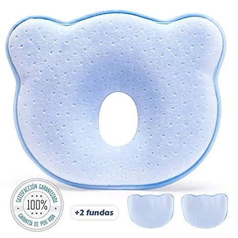 Almohada Bebe Plagiocefalia Con 2 Fundas - Azul | Cojin Bebe Plagiocefalia – Para Prevenir La Cabeza Plana