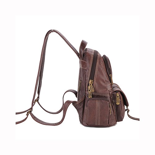 Purses Bags 5 Travel Inches X Black Leather Backpack Satchel Shoulders Brown Dark 5 Lycailcy Women's Daypack 8 Messenger 3 9 Genuine 11 Bag BnUxqCCIwP