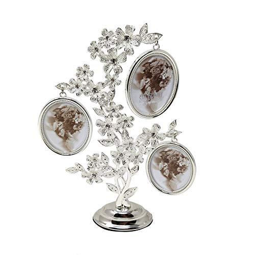 Diamante Daisy Chrome Metal Photo Tree With 3 Frames W5cm X H6.5cm Oval
