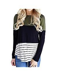 BIHSD Women's Maternity Striped Nursing Shirt Breastfeeding Tops, Pregnancy Clothes for Women