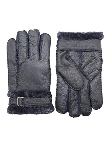 YISEVEN Men's Rugged Shearling Sheepskin Mittens Gloves Adjustable Buckle Sherpa Fur Cuff Thick Wool Lined and Heated Warm for Winter Cold Weather Dress Driving Work Xmas Gifts, Navy Blue XL (Norwegian Mittens)
