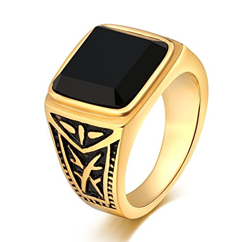 MoAndy Mens Rings Stainless Steel Punk Bands Black Cubic Zirconia Totem Square 15MM Gold Size (Qvc Gift Card)