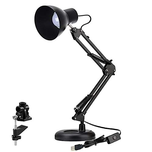 Shellkingdom Architect Task Lamp,Adjustable Swing Arm Desk Lamp with Clamp,Classic Desk Lamp for Home Office Reading (Black-USB)