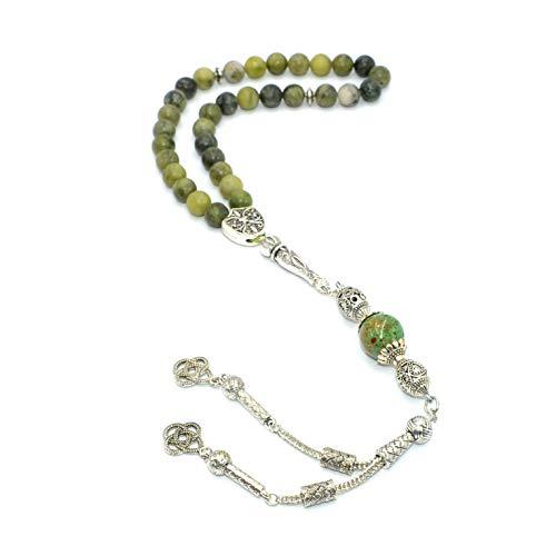 - Original Taiwan Green Jade Stone Prayer Beads (8 mm 33 Beads) Tesbih-Tasbih-Tasbeeh-Misbaha-Masbaha-Subha-Sebha-Sibha-Rosary-Worry Beads