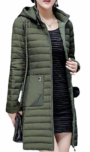 Hot Sale-UK Womens Long Sleeve Lightweight Hooded Long Down Puffer Jacket 2