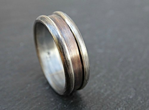 architectural ring bronze silver, mens ring two tone, mens wedding band bronze, ring bronze anniversary gift, rustic mens promise ring mixed metal - Bronze Architectural Ring