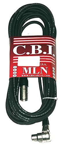 CBI MLN Performer Series LowZ XLR Male to XLR Female Right Angle Microphone Cable, 20 Feet