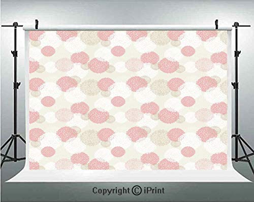 Pastel Photography Backdrops Soft Toned Spring Floral Motif with Peony Blossoms Petals Elegance Image Decorative,Birthday Party Background Customized Microfiber Photo Studio Props,8x8ft,Brown Light Pi