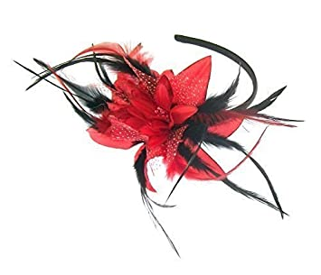 Image Unavailable. Image not available for. Colour  Red and Black  Fascinator Headband ... 13dba13f854