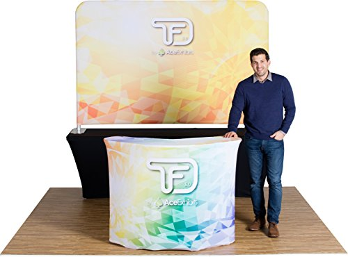 Ace Exhibits - 8' x 5' FLAT TRU-FIT 3.0 - Dye-Sub Printed Graphic Stretch Tension Fabric Trade Show Display - Trade Show Booth - Table Top Tradeshow Display - Pop Up Display Exhibit Booth