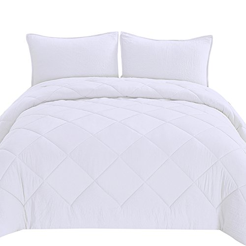 ONS Queen Comforter Set with Washed Finish Down Alternative Hypoallergenic Diamond Stitch, White (Fashion Comforter Set)