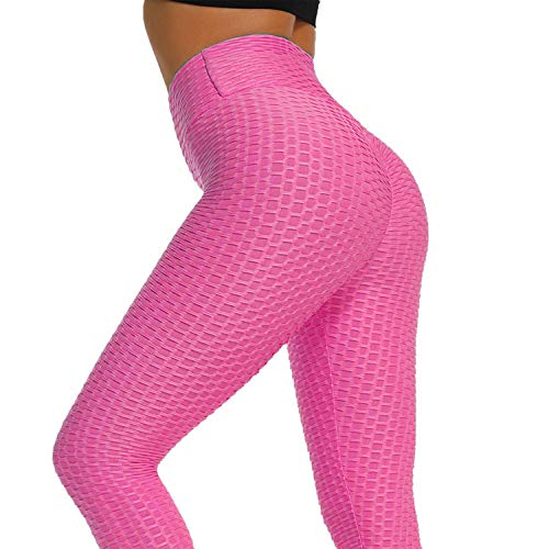 HLZKU Anti-Cellulite Compression Leggings, Women s High Waisted Capris Yoga Pants Cellulite Oppressing Mesh Fat Burner Running Tights Design (X-Larage, Pink)