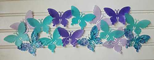 Edible Wafer Teal/Purple / Floral Romantic Swallowtail Butterflies- Cake/cupcake Toppers Collection of 15
