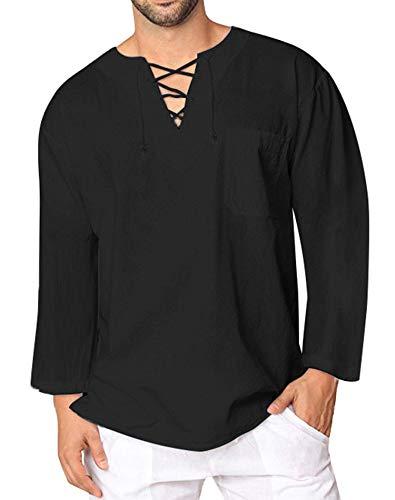 (modase Mens Short Sleeve Summer Hippie V Neck T Shirts Baggy Drawstring Linen Plain Beach Yoga Top Black)