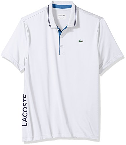 Lacoste Mens Short Sleeve Jersey Jacquard Collar & Contrast Piping Polo, DH3360