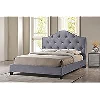Baxton Studio Anica Scalloped Fabric Modern Platform Bed, King, Grey