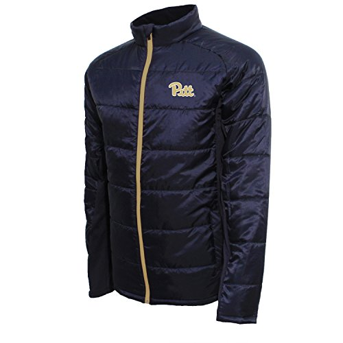 (NCAA Pittsburgh Panthers Men's Campus Specialties Full Zip Quilted Puffer Jacket, Navy/Dark Gold, X-Large)