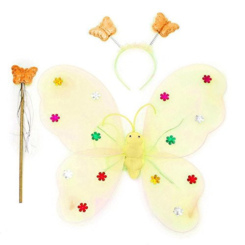 ManxiVoo 3pcs/Set Girls Led Flashing Light Fairy Butterfly Wing Wand Headband Costume Dress up Toys Gifts (Yellow)]()